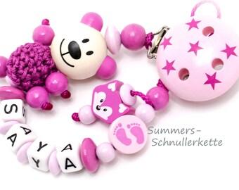 Schnullerkette, personalisiert mit Namen, Name, Teddy , Fuchs, pink-rosa, Mädchen