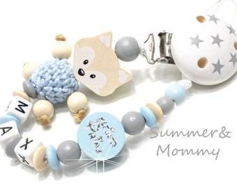 Schnullerkette Fuchs Natur hellblau kleiner Prinz Sterne, natur, hellblau, mit Namen ,  Geschenk , Baby personalisiert