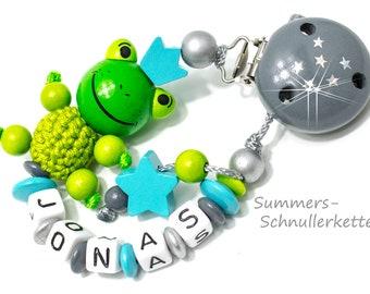 personalisierte Schnullerkette Frosch, Froschkönig, Nuckelkette mit Wunschnamen, Name, Nuckelkette Namen