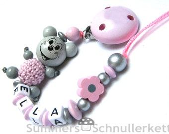Schnullerkette Maus, grau-rosa mit Blümchen