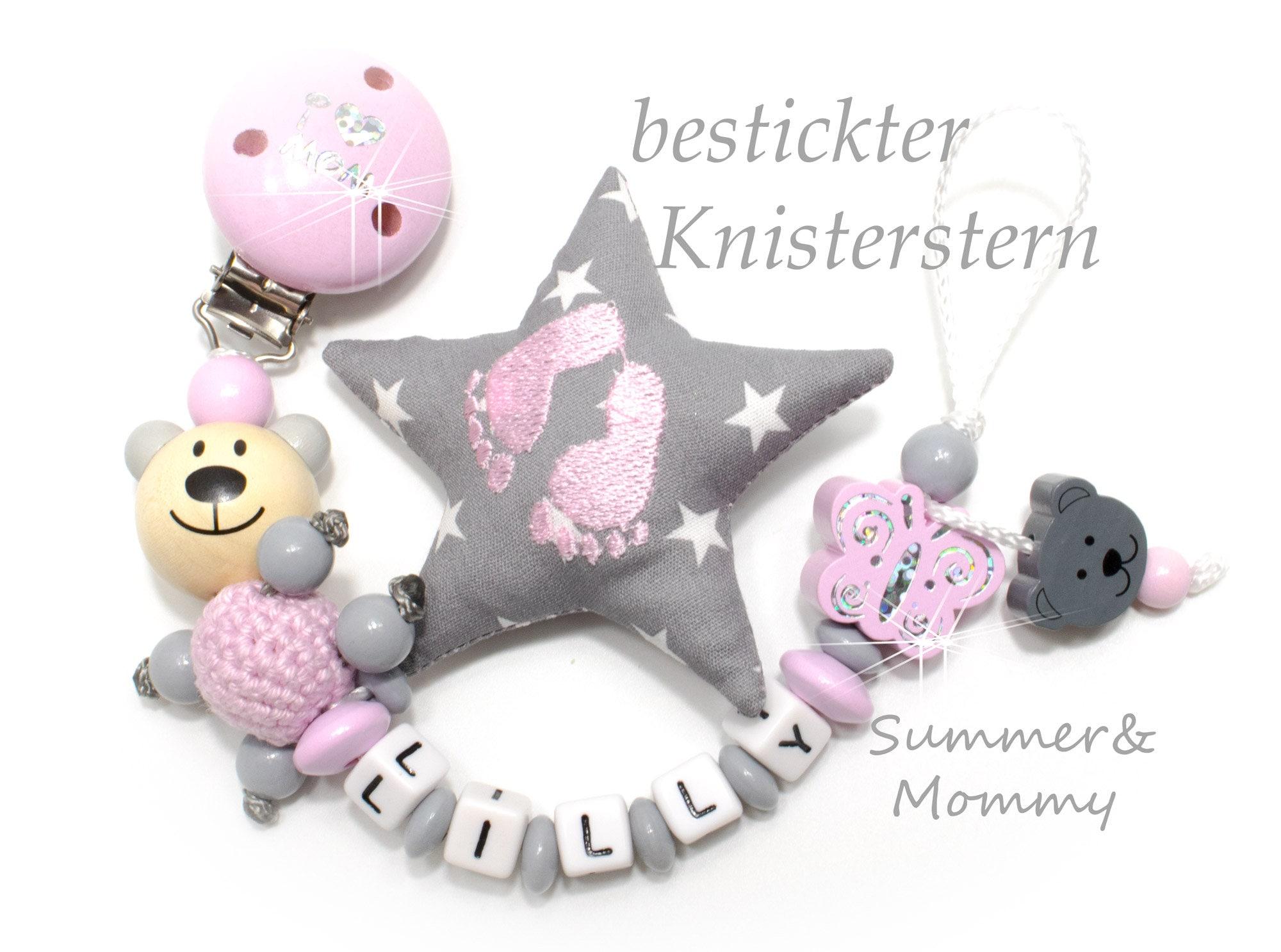 Schnullerkette mit Namen Schmetterling  Mädchen rosa grau Baby