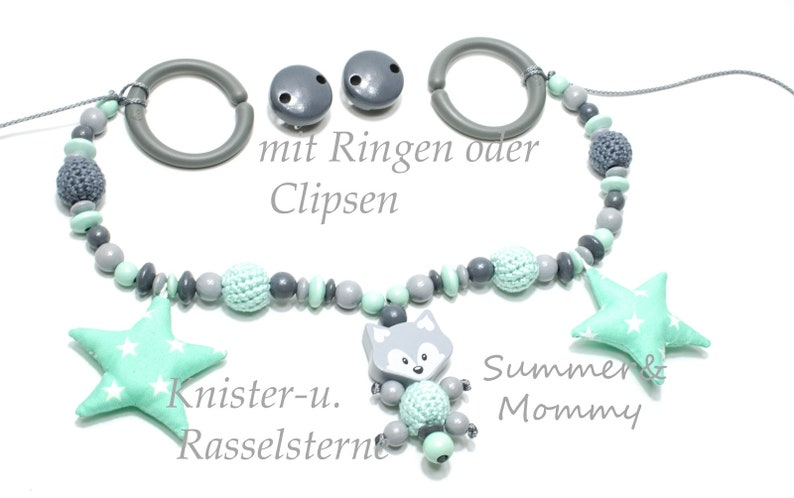 Stroller chain fox Knister and rattle stars crochet pearls image 0