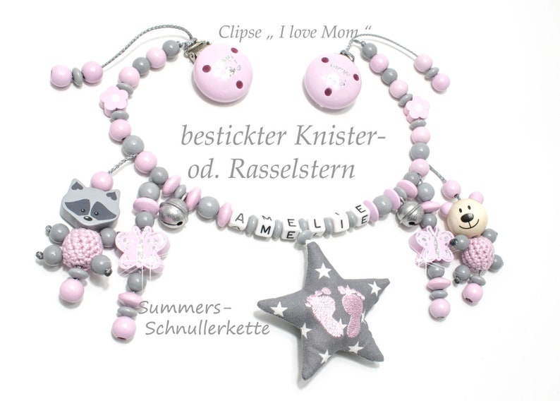 stroller chain pink grey with name girl image 0
