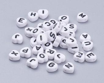 Alphabetperlen 12mm 80 Beutel-weiß Mit Schwarzen Buchstaben