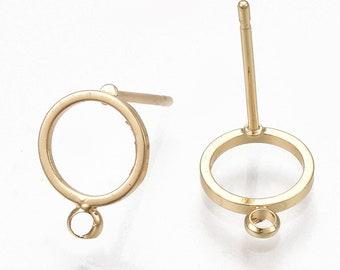 30 Edelstahl Ohrstecker Ohrhänger Rund Rahmen Silber Fassungen Ohrstopper 10mm