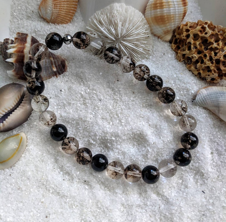 Smokey quartz stretch Bracelet Smokey quartz bead Bracelet image 0