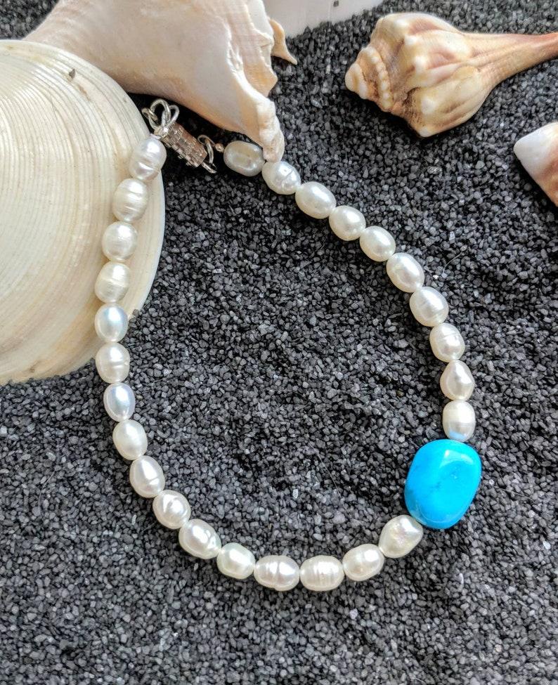 Turquoise bracelet turquoise Howlite bracelet balance stone image 0
