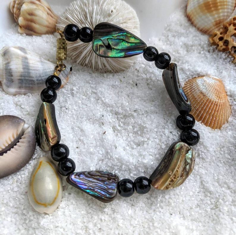 black abalone iridescent bracelet natural abalone shell bead image 0