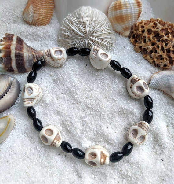 White turquoise skull bracelet