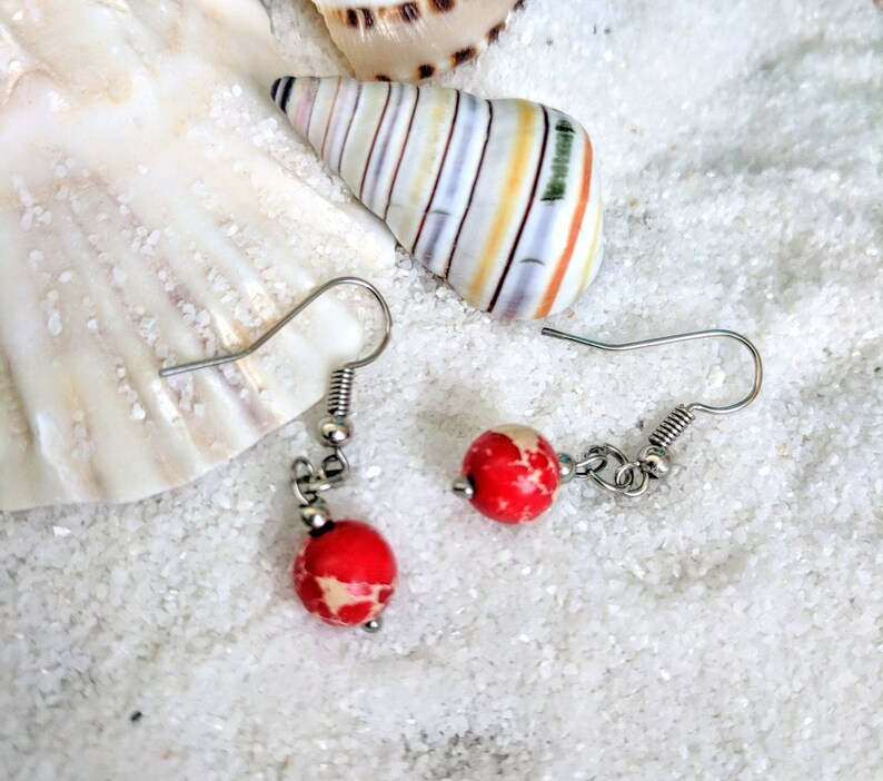 Red Jasper beaded earrings Red sea sediment Red bead red image 0