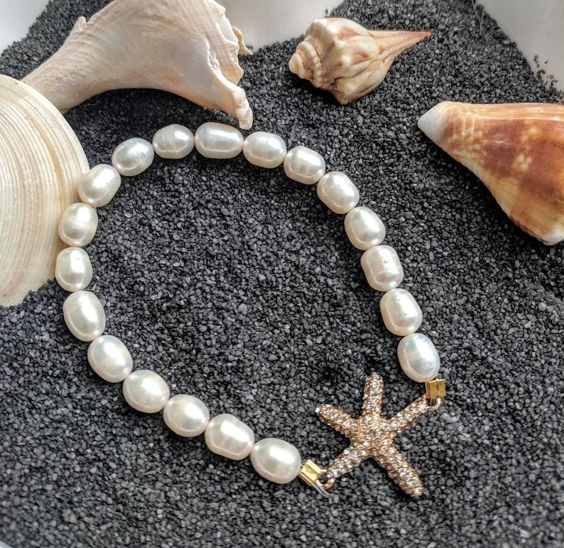 Starfish Bracelet pearl bracelet star fish pearl bracelet image 0