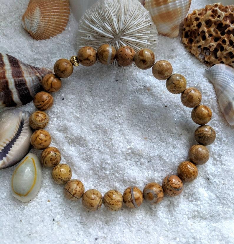 Tigerskin jasper tigerskin jasper stretch bracelet tan image 0