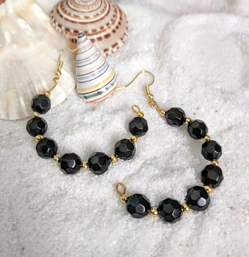 Black earrings black hoop earrings half hoop beaded image 0