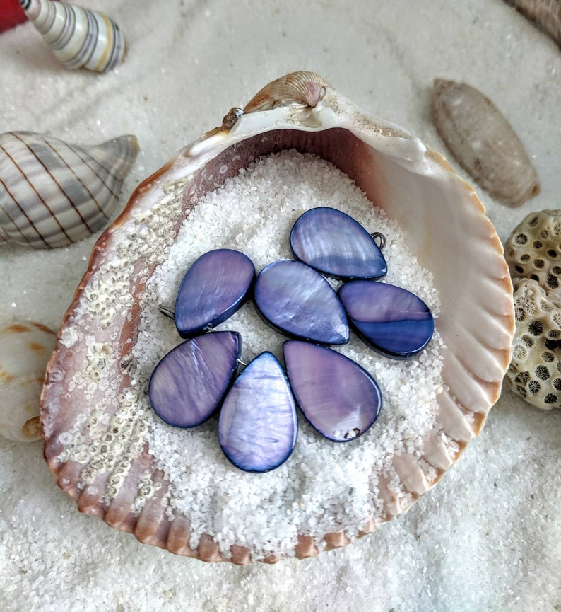Purple beads purple shell drop mother of pearl shell image 0