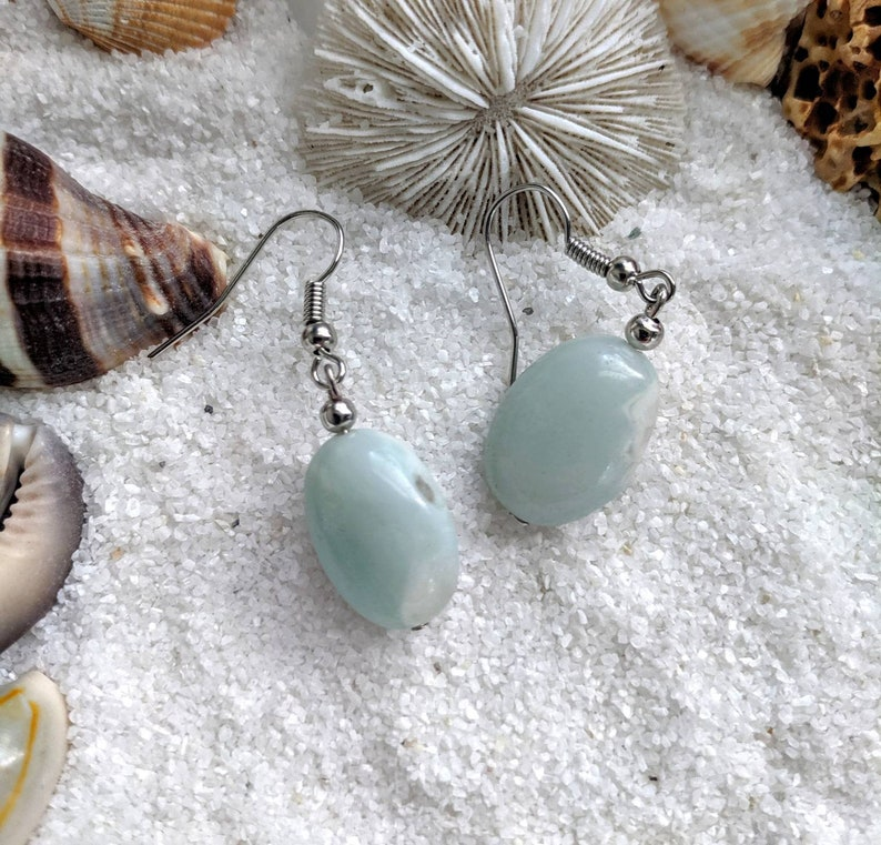 sterling silver amazonite earrings amazonite bead earrings image 0