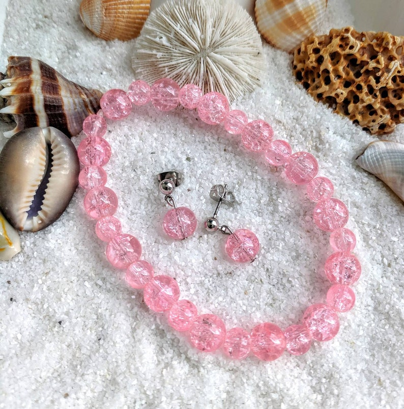 Pink Bracelet and earrings pink jewelry set crackled glass jewelry crackled pink jewelry set