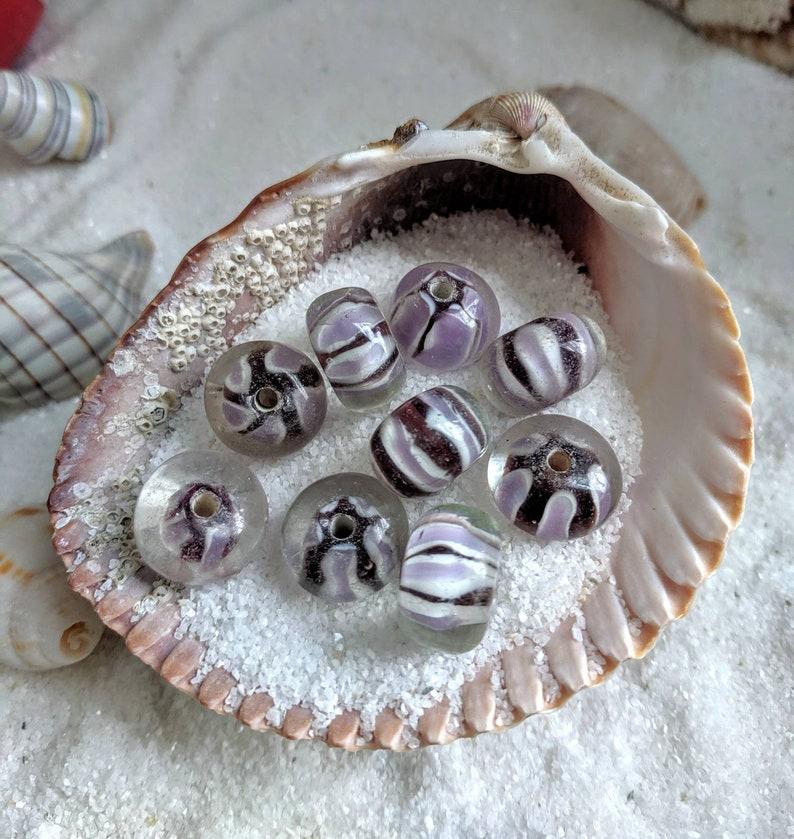 Lampwork glass beads purple ribbon spirals art glass boro image 0