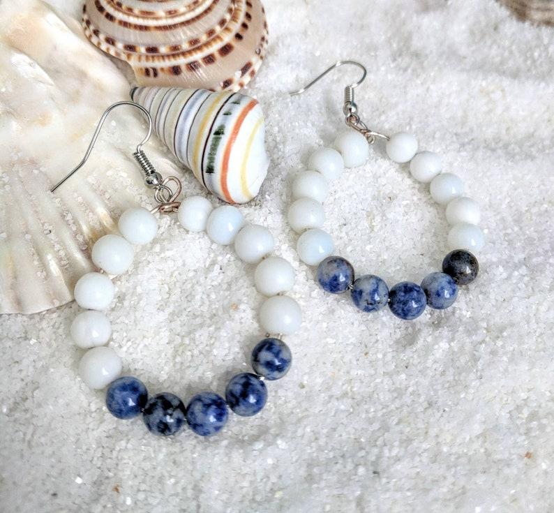 Sodalite earrings gemstone hoop earrings blue sodalite image 0