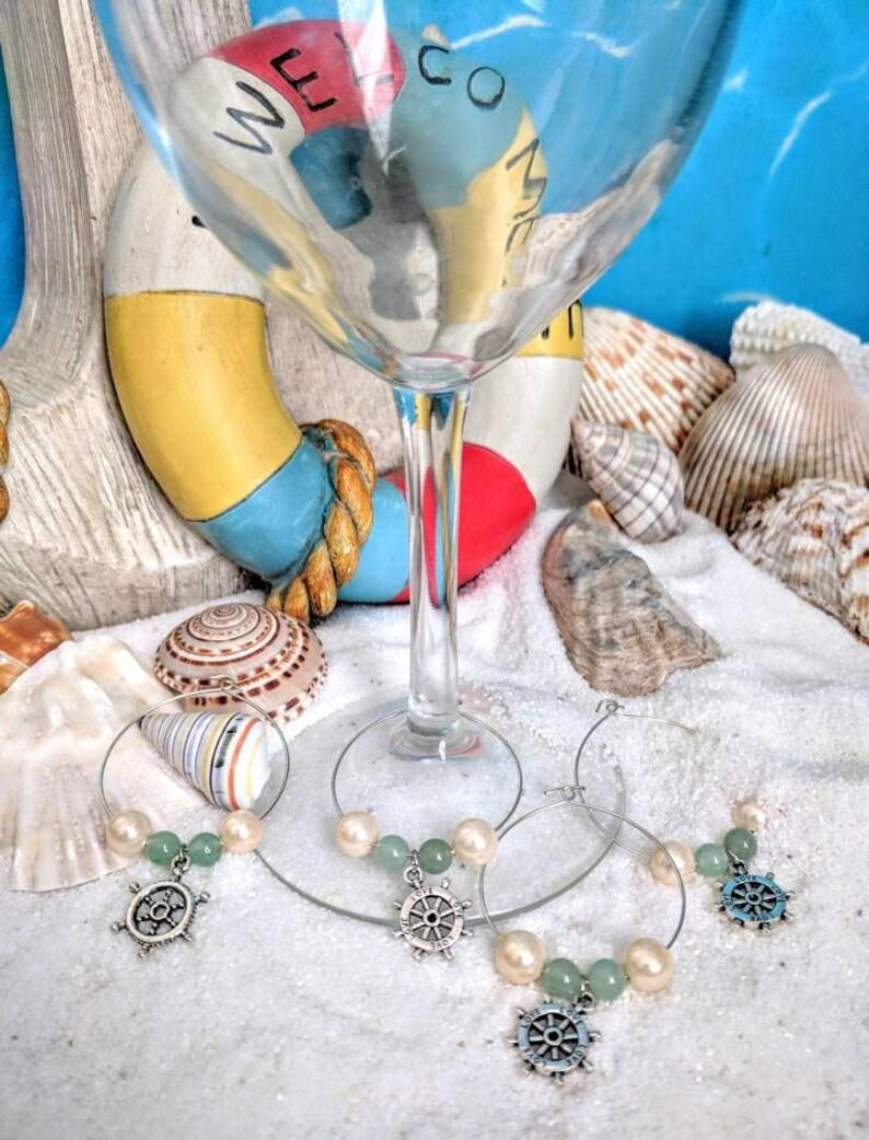 Wine charms nautical wine charm wine lovers gift wine glass image 0