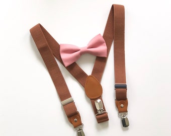 80c4dea45f41 Bow tie & Suspenders SET / Dusty Pink bow tie / Brown Suspenders / Kids  Mens Baby Wedding Bow tie /Newborn bowtie / Boy bowtie/ Suspenders