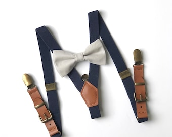 e62681fe700e Bow tie & Suspenders SET / Cloudy Grey bow tie / Navy blue Suspenders / Kids  Mens Baby Wedding Bow tie / Newborn bowtie / Boy bowtie