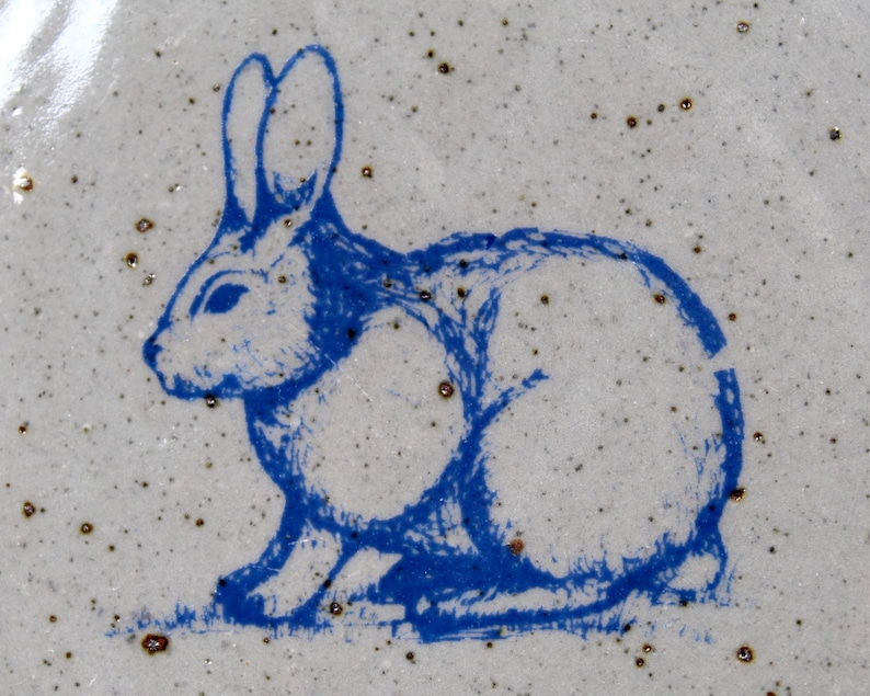 Easter Bunny American Folk Art Blue Spongeware Pottery FREE SHIPPING Bastine Potter Bunny Plate Handcrafted Indiana Pottery