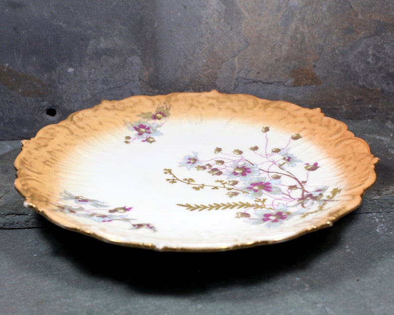 Antique Limoges Hand Painted Plate RARE P Leonard Limoges FREE SHIPPING H Gold and Peach Floral Plate early 1900s Porcelain