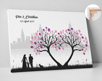 Wedding Tree Weddingtree Skyline Auf Leinwand Oder Premium Papier Fingerabdruckbaum Tier Kind Baum Gastebuch Hochzeit Geschenk New York