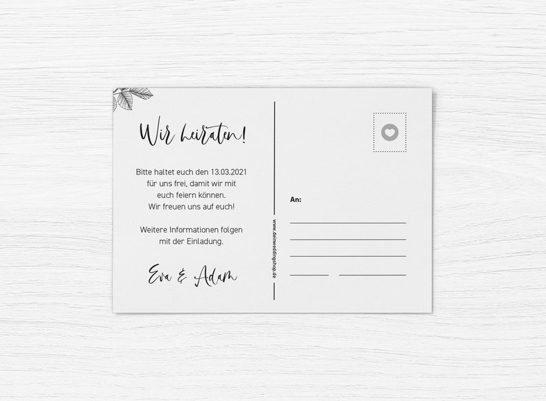 Deluxe Black 5x SAVE THE DATE Cards Refined printed on two sides Din A6 Wedding Personalized Name /& Date Text