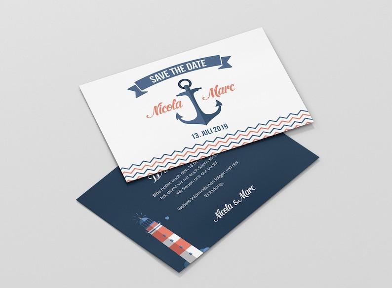 Hochzeit Einladungskarte maritim