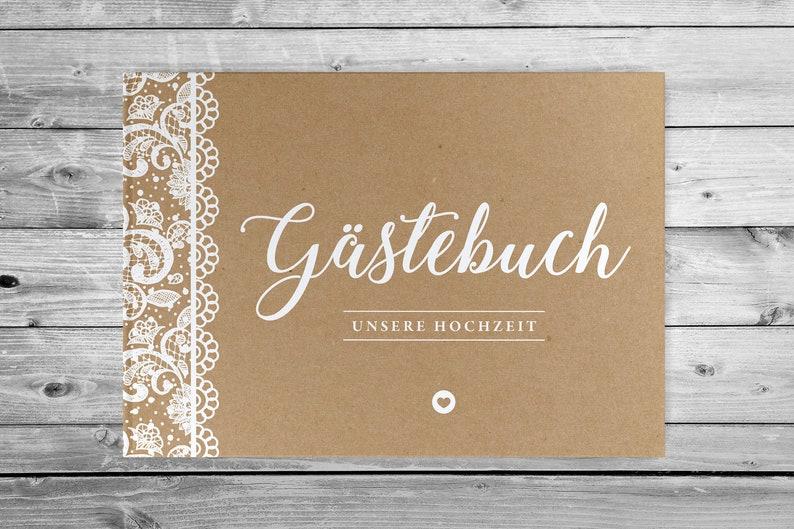 Gästebuch VINTAGE m Spitze NATUR Hochzeit romantisch