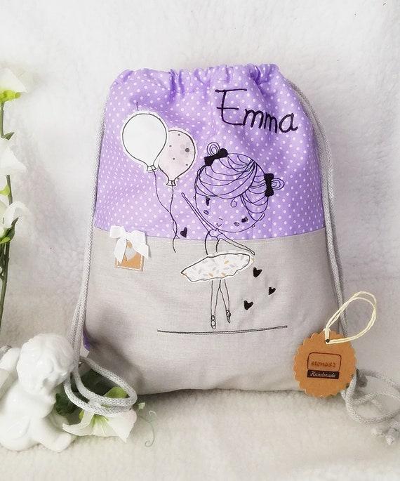 Enfants sac à dos enfants, pochons, purple, fille sac à dos, points de broderie fichier ballerine cabas violet, sac filles