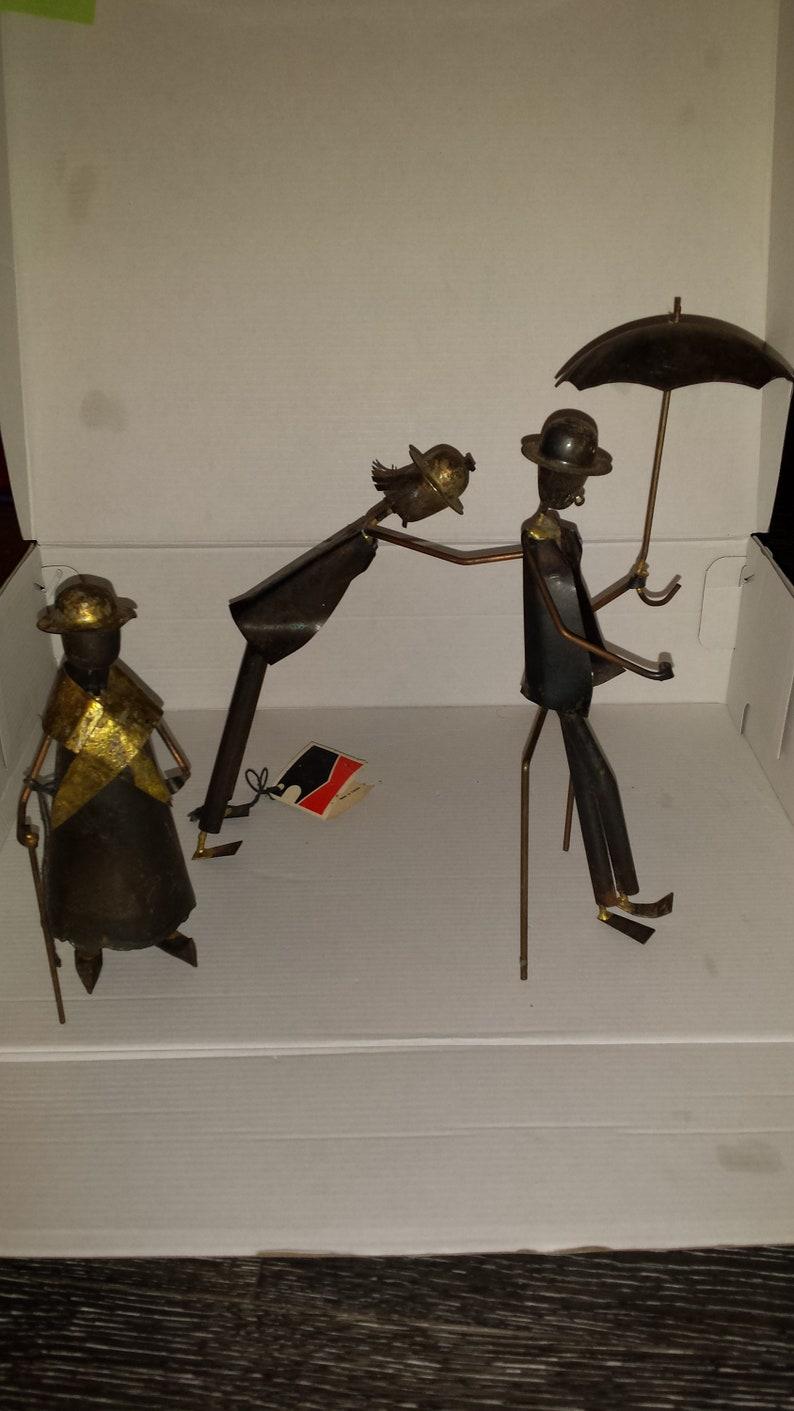 Mid Century Modern Metal Figurine Art Sculptures by Jarnuszkiewicz et Michel