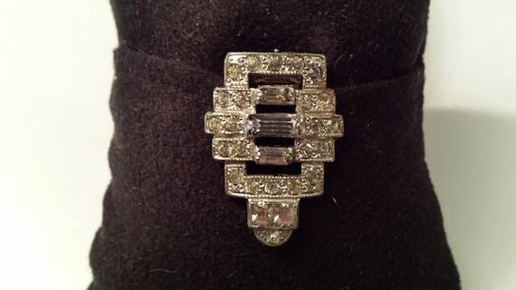 Vintage Signed Allco Pink Blue and Clear Rhinestone Art Deco Era Link Bracelet