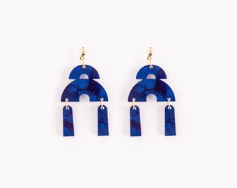 Art Deco Double Bow Earrings in Sapphire Blue Muted Pearl Acrylic