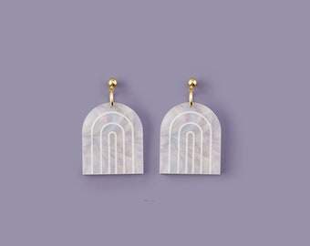 Arches Stud Earrings in Dreamy Marble Pearl Acrylic