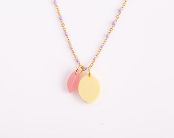 Mix and Match Purple Stainless Steel Lemon Necklace with Pink Leaf