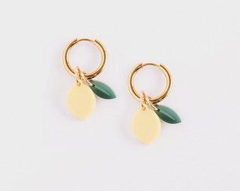 Fruit Collection x Lemon Earrings with Golden Hoops