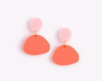 Round Colorblock Earrings 'Pebble' in Rosé + Coral