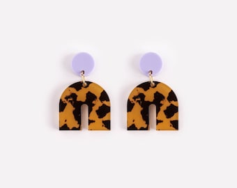 Colorbock 'Arch' Bow Stud Earrings in Leopard + Lilac
