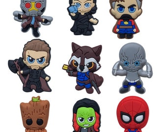 ab56b4b0605c23 Avengers Shoe Charms Fit Buckles And Bracelets Lovely Buckle Accessories  Decoration Party Croc Jibbitz Kids Gift