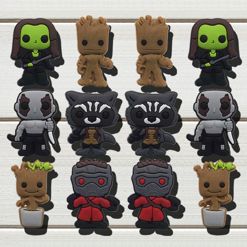 578dc608fa47 1pcs Guardians of the Galaxy Shoe Charms Pvc Fit Buckles And