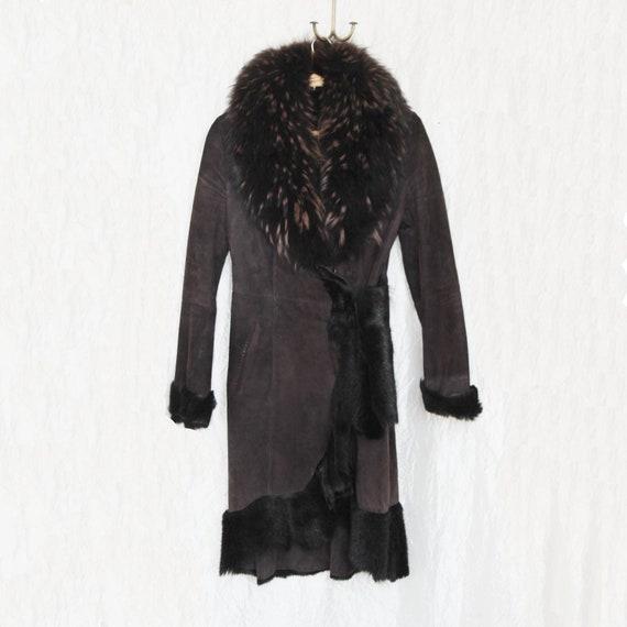 Vintage shearling coat Suede shearling coat Brown