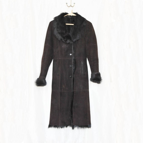 Vintage long shearling coat Suede shearling coat B