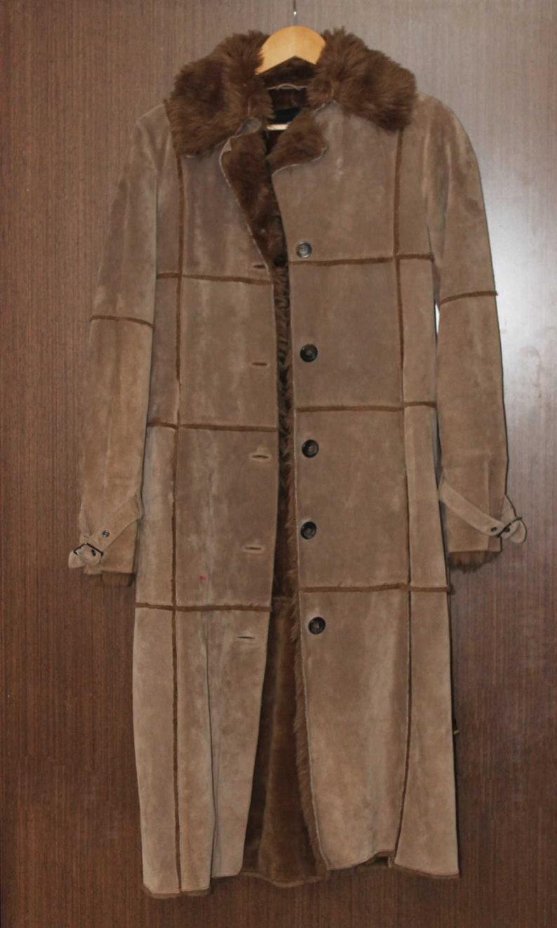 Vintage women HM suede coat Nubuck coat Leather coat Rancher coat Size 34 Winter jacket Faux fur coat Brown suede Size 4 Long winter coat