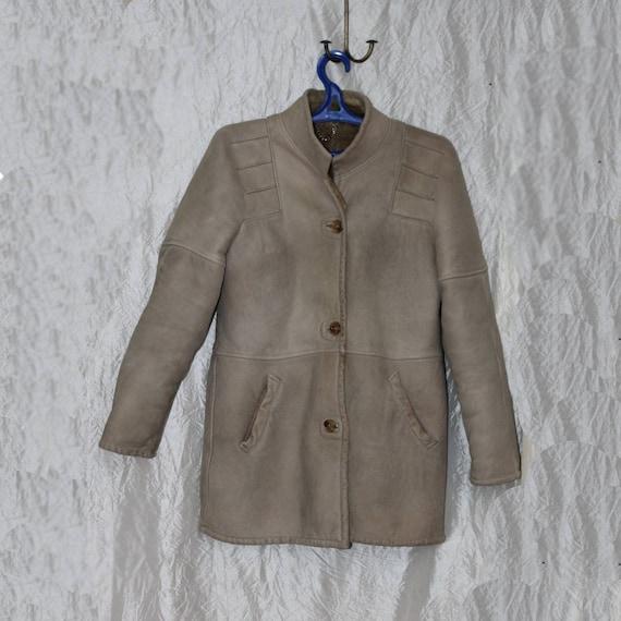 Vintage shearling coat Suede shearling jacket Gray