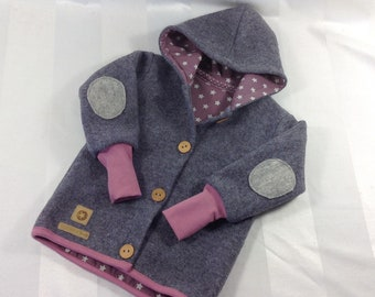 Walk Jacket Coat in grey old pink with or without lining / Stars Wooden buttons Elbow patches Size 62-146
