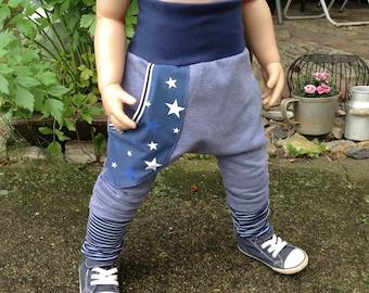Pump Pants Baggy Pants Sweat in Blue Melange Stars