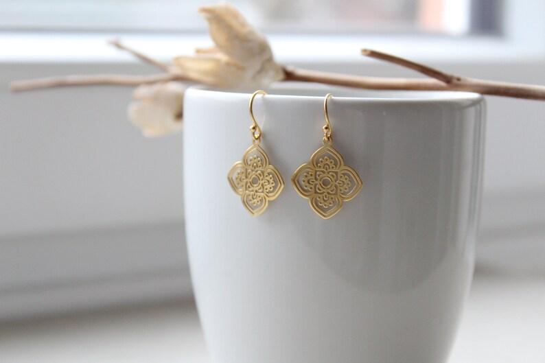 BOHEMIAN BOHO | Earrings in 925 silver 24K gold plated | Flower | Lasercut  | Fleur | Mandala | Karma | Boho