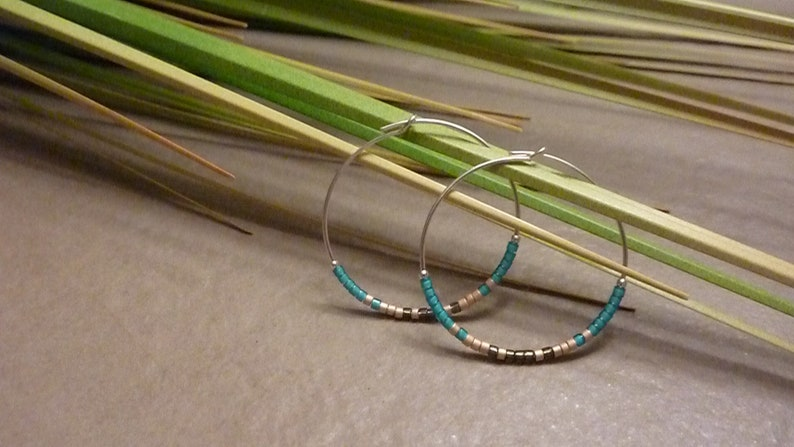 HANAMI 925 925 Sterling Silver Hoops with Miyuki Delica Beads Boho brown 30 mm blue gold